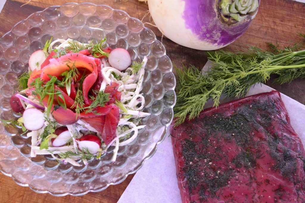 Dill and Beetroot Cured Salmon with Turnip Slaw