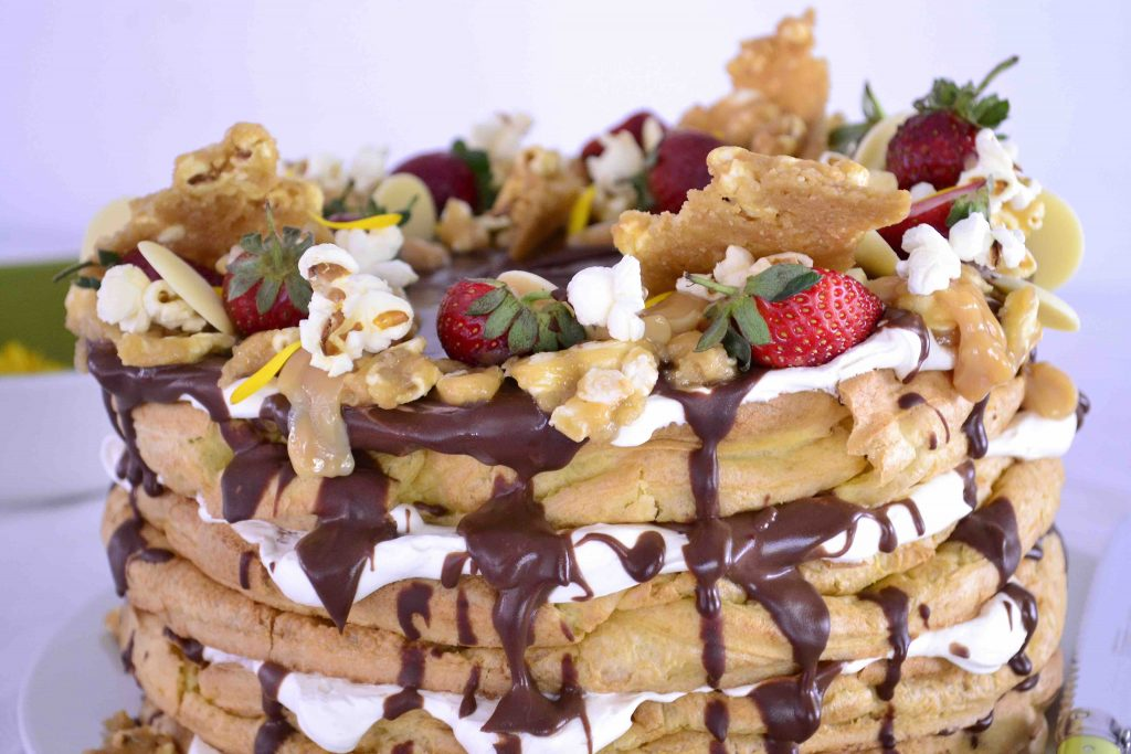 Chocolate and Salted Caramel Popcorn Eclair Cake