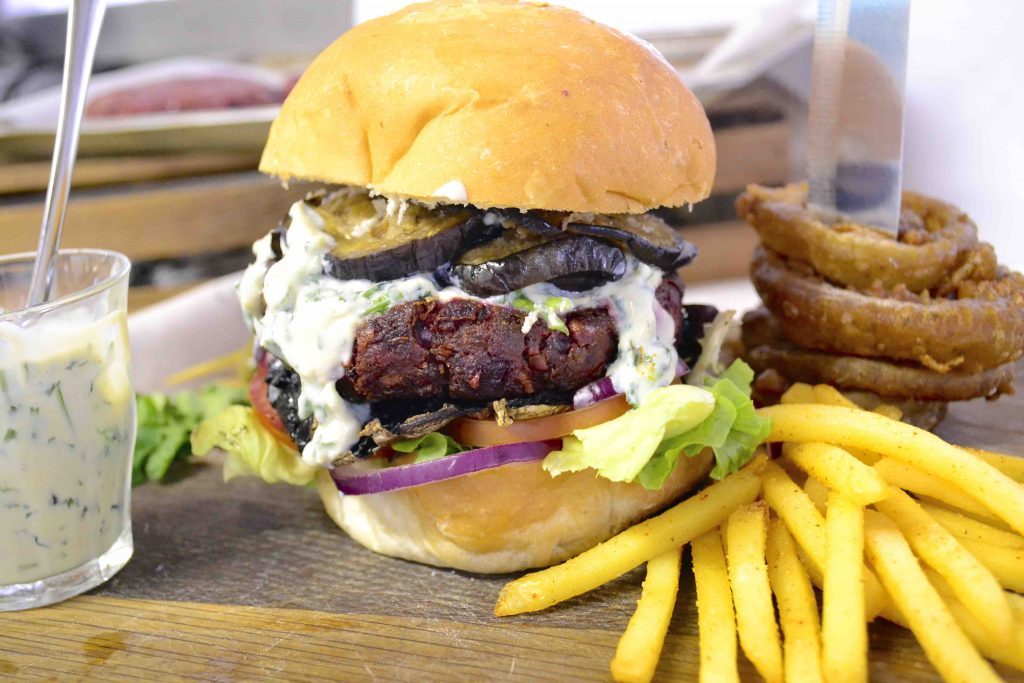 Vegan Beetroot and Lentil Burger with Coriander Aioli