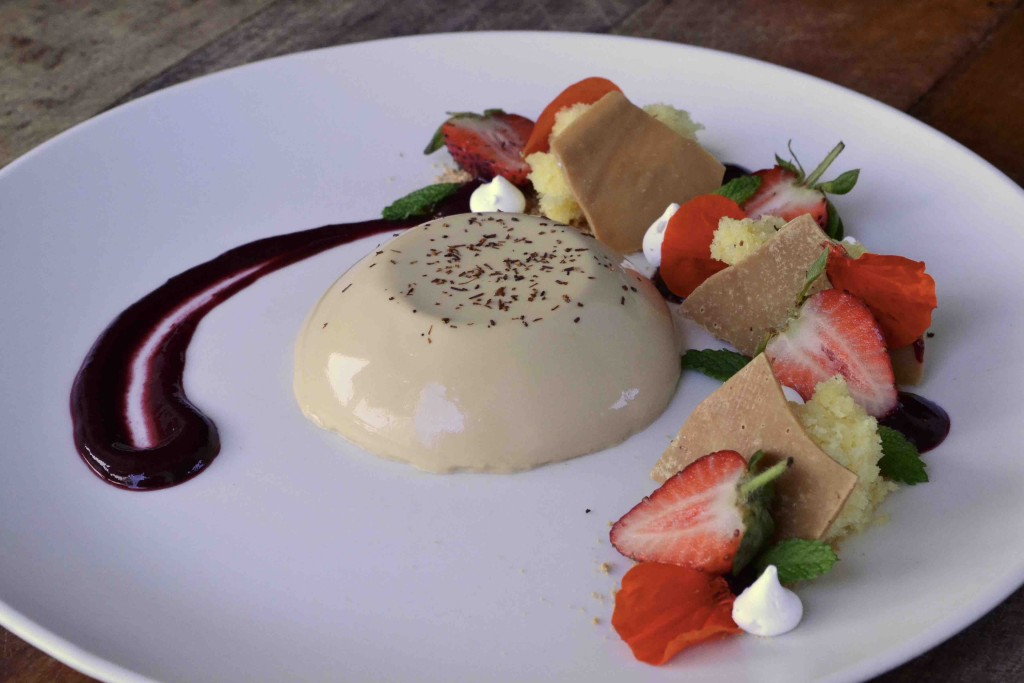 Rooibos panna cotta with lemon buttermilk sponge and berry coulis