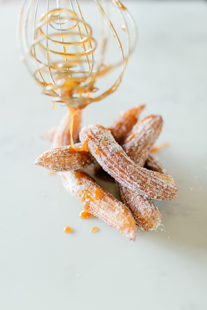 Cinnamon Churros with Cayenne Pepper Chocolate Ganache and Miso Caramel Dipping Sauce